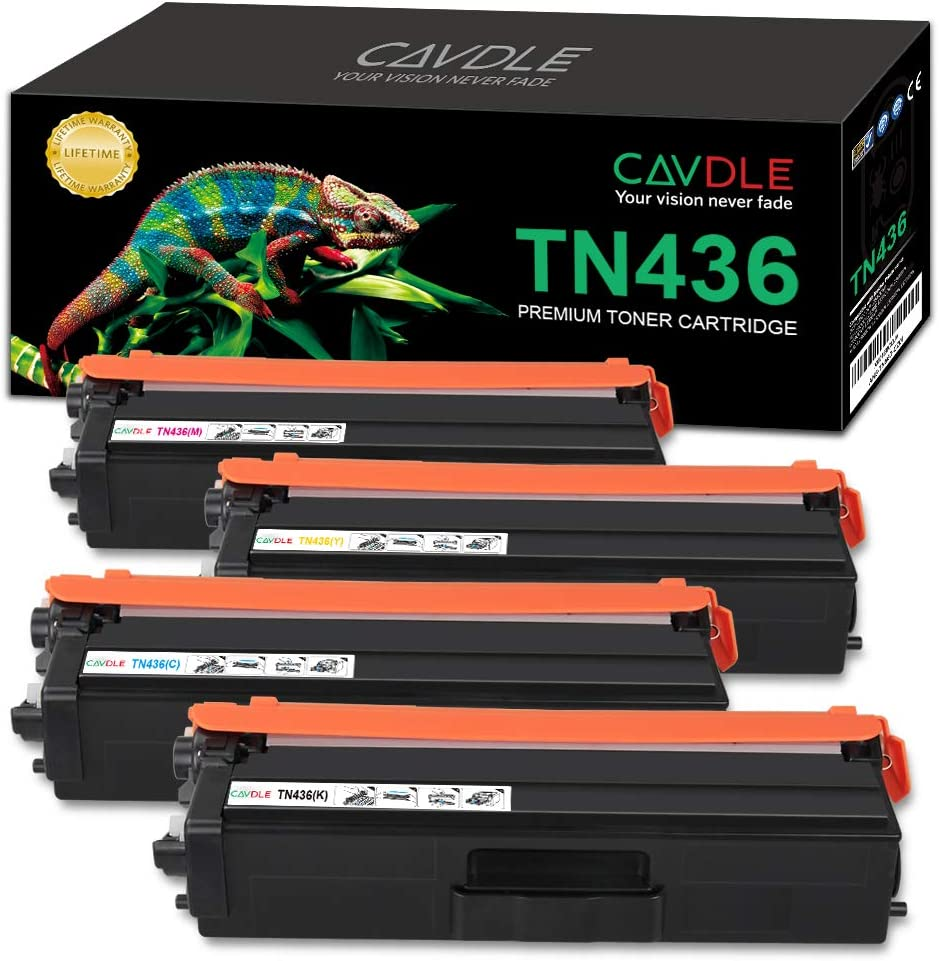 Black, Cyan, Yellow, Magenta CAVDLE Compatible TN436 High Yield Toner Cartridge for Brother TN436BK TN436C TN436M TN436Y Toner for Brother HL-L8360CDW HL-L8360CDWT MFC-L8900CDW Printer 4 Pack
