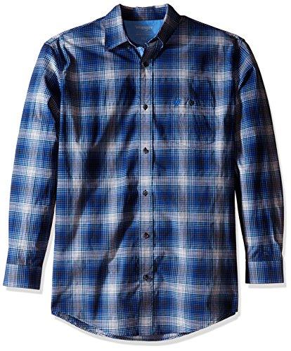 Wrangler Blue Shirt Twill (Wrangler Men's Size Sport Long Sleeve Shirt, Blue/Black, 2X/Tall)