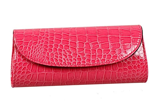 Bundle Monster Womens Envelope Evening Patent Croc Skin Embossed Clutch - PINK