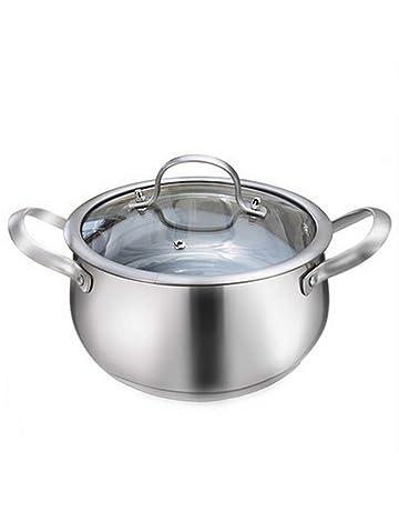 ALARION Olla de cocción de acero inoxidable con tapa de vidrio 18 cm de alto 11