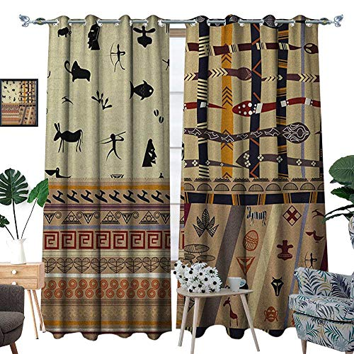 Oil Elephant Warmer Tribal - Warm Family Primitive Window Curtain Fabric Hunting Animals in Wilderness Elephant Zebra Fish Snake Tribal Mask Patterns Drapes for Living Room W120 x L96 Black Beige