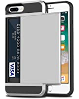 iPhone 8 Plus Case, iPhone 7 Plus Case, Anuck Shockproof iPhone 7/8 Plus Wallet Case [Anti-scratch] Hybrid Protective Hard Shell Rugged Rubber Bumper Cover with Sliding Card Holder Slot - Silver