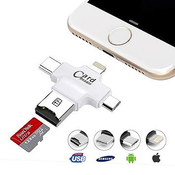 Lector de tarjetas Micro SD/TF, 4 en 1: USB micro, USB tipo C, USB A y conector Lightning, para iPhone, iPad, Android, PC, Mac, color blanco