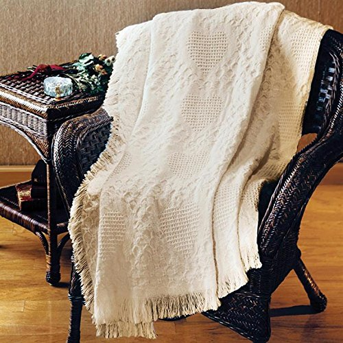 Manual 46 X 60-Inch Throw, Basketweave Heart in Natural Cotton