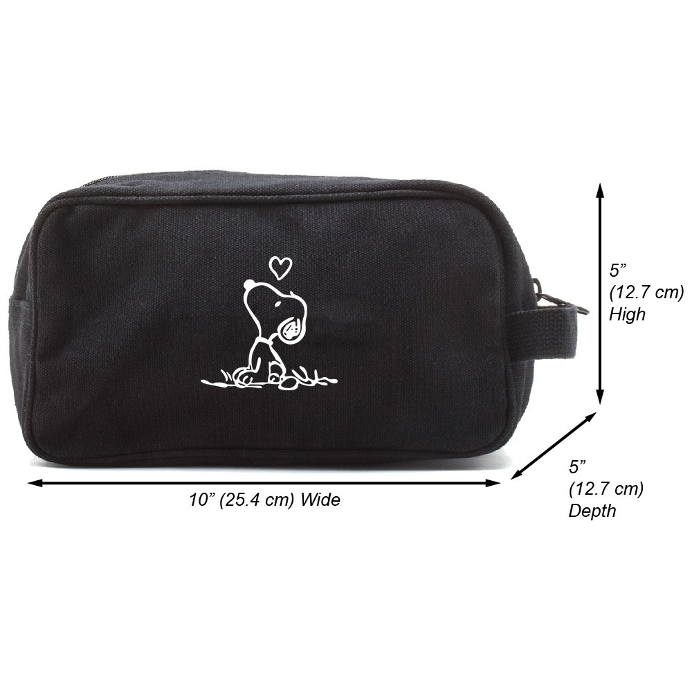 Snoopy in Love Canvas Shower Kit Travel Toiletry Bag Case, Black & White