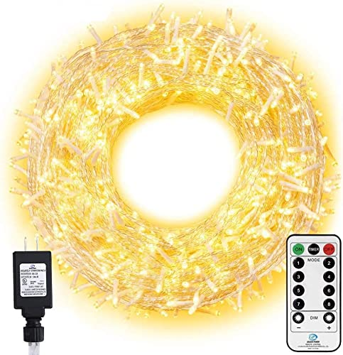 Ollny LED String Lights 800 LED 330FT Long Christmas Lights with Remote,8 Modes Timer Warm White Fairy Lights Plug in Twinkle Lights for Room Indoor Wedding Tree Party Christmas Decoration Outdoor