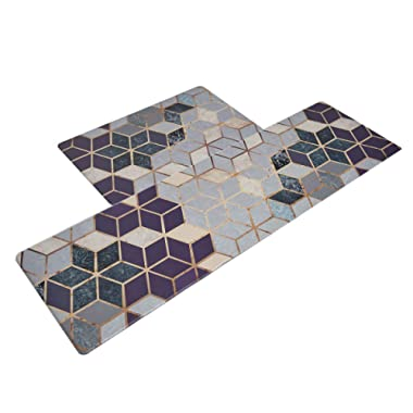 U'Artlines Anti Fatigue Kitchen Floor Mat Set of 2, Comfort Heavy Duty Standing Mats,Waterproof PVC Non Slip Washable for Indoor Outdoor (18x30Inch+20x55Inch, Geometric Patterns)