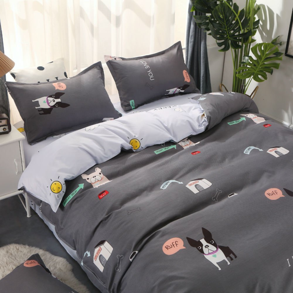 4-Piece Bedding Set Flamingo Love Bird Zebra Elk Hamster Cute Dog Pattern Polyester Cotton Duvet Cover Set with Pillowcase Single Twin Double Queen King Size/4 Piece Linen Microfiber Duvet Cover (Grey puppy, 220x240 Cm) Stillshine