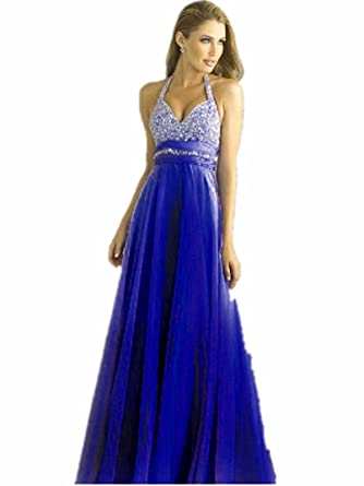 MK8 dark blue Chiffon Evening Dresses party full length prom gown ball dress robe