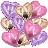 """ballonfritz Herz-Luftballon-Set in Rosegold/Violett (Flieder)/Rosa 10-tlg. - XXL 18"""" Folienballon-Set als Hochzeit Deko, Geschenk oder Liebes-Überraschung zum Valentinstag"""