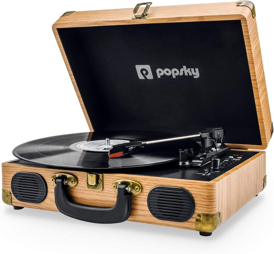 Popsky Record Player, 3-Speed Vintage Style Turntable, Bluetooth Record Player with Built-in Stereo Speakers, Portable Suitcase LP Vinyl Player, Headphone USB RCA Jack