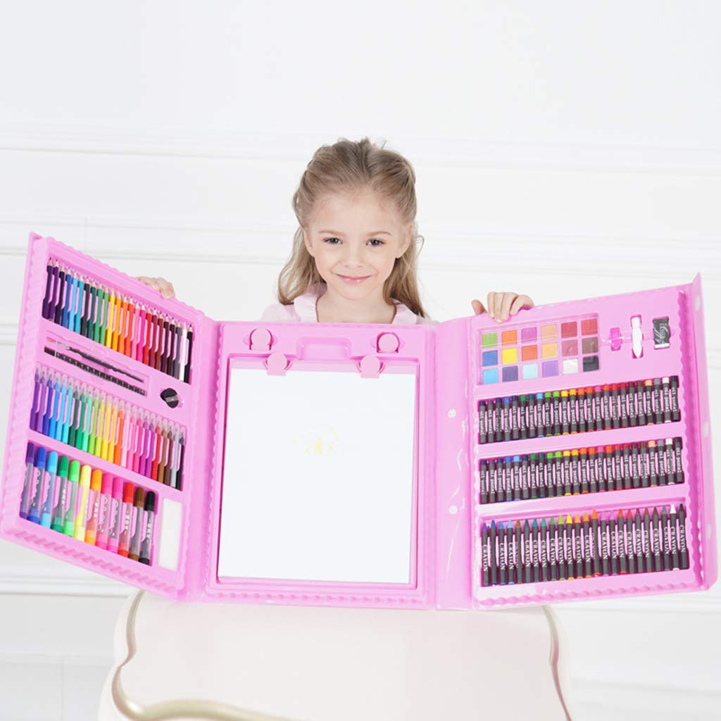 Zywtrade Children's Watercolor Brush Crayon Stationery Set Gift Box Painting Prizes Summer Training Gift Birthday Gift 176 Pieces Easel,Pink by Zywtrade (Image #1)