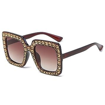 97011959dcc Fheaven Womens Fashion Artificial Diamond Cat Ear Quadrate Big Metal Frame  Brand Classic Sunglasses (A