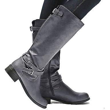e0309318165 Amazon.com  Karlywindow Womens Casual Winter Boots Knee Length Wide Calf  Zipper Flat Chunky Boot  Clothing