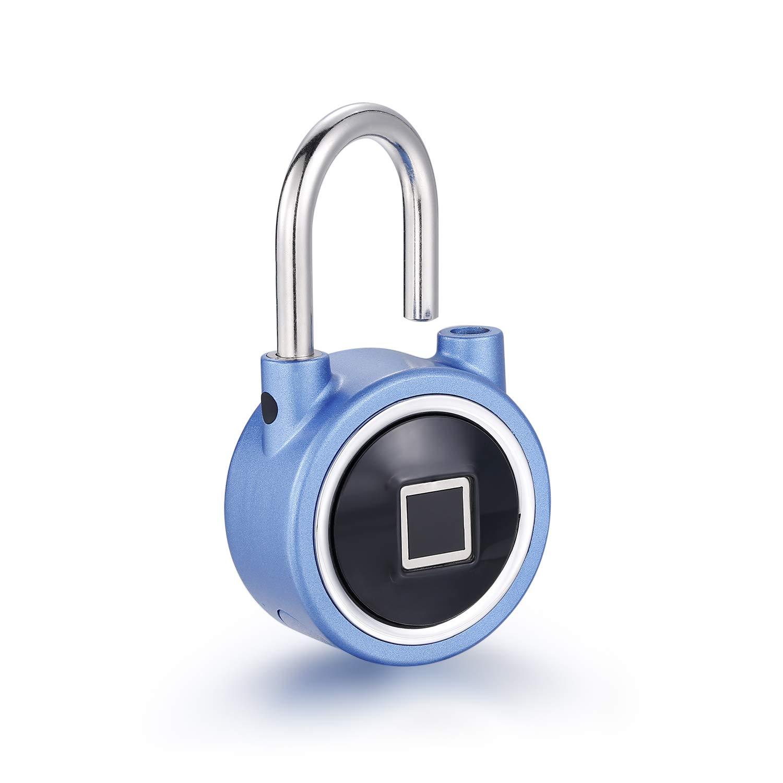 Fingerprint Padlock, Uervoton 2nd Gen Bluetooth Smart Lock Quick Access Keyless Padlock for Indoor and Outdoor Use, IP65 Waterproof (Blue)