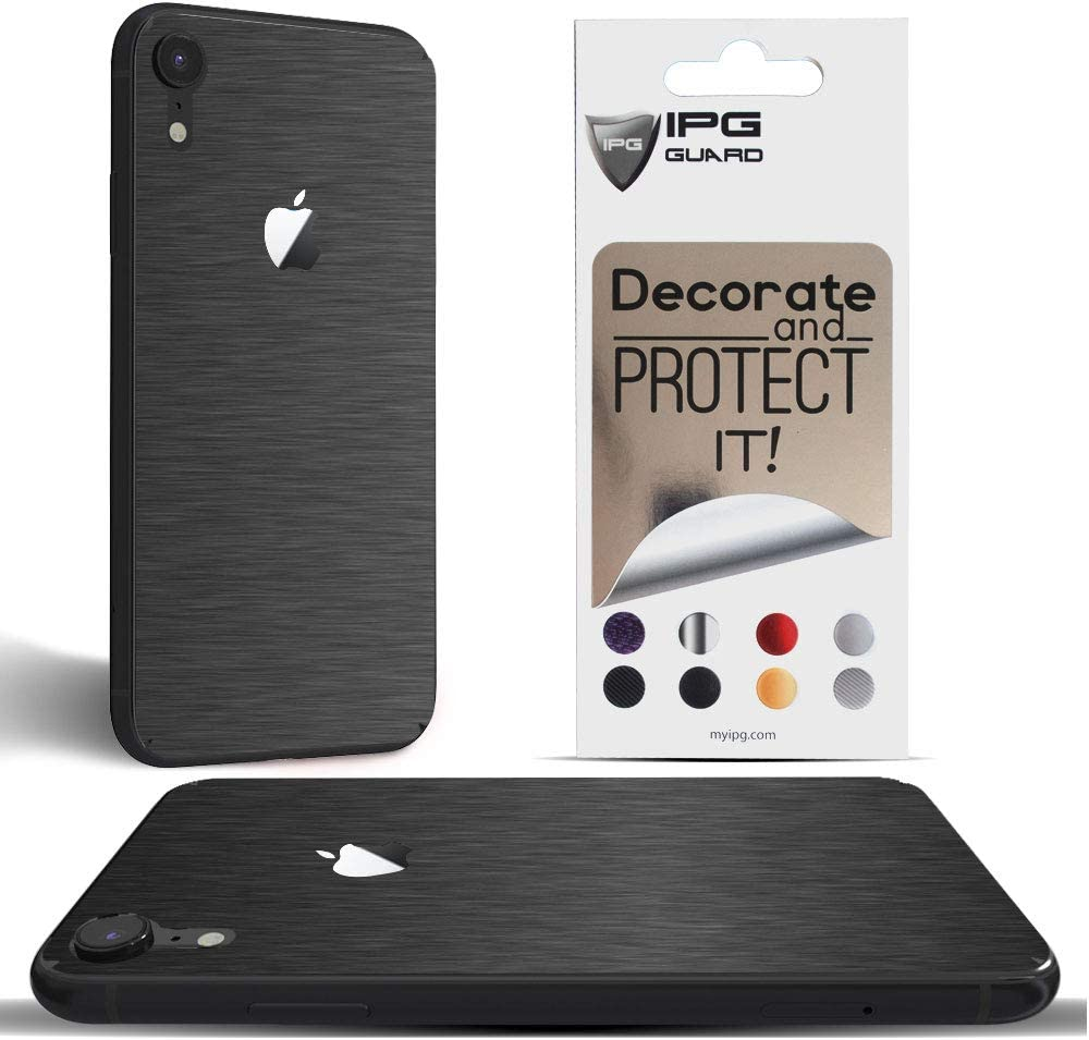 IPG for iPhone XR Decorative Carbon Fiber Vinyl Back Protector Anti Scratch Skin Guard - 3D Surface - Bubble -Free Easy to Install (Dark Brushed Aluminum)