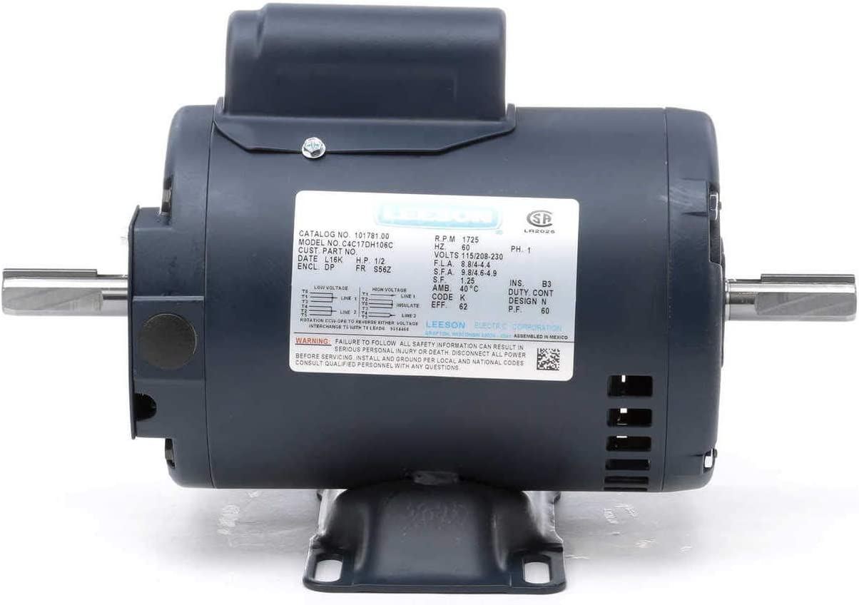 1/2 hp 1725 RPM 115/208-230V Double Shafted Power Tool Motor Leeson Electric Motor # 101781 61P6K1c-A3LSL1280_