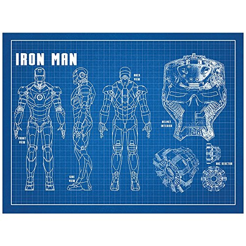 Inked and Screened Sci-Fi & Fantasy Design Art Poster Iron Man, Blue Grid