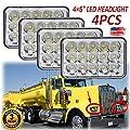 4X6 Sealed Beam LED Headlights For Kenworth T400 T600 T800 W900 (Fits Trucks With 4PCS Original Rectangular Headlamp) H4651, H4652, H4656, H4666, H6545, H4668, H4642 High Low Beam High Power Lights