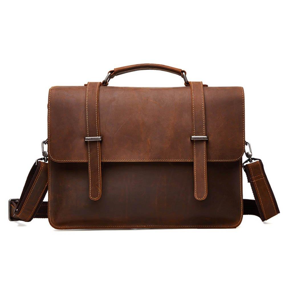 Color : Brown Techecho Mens Office Business Briefcase Tote Bag Shoulder Casual Travel Shopping Handbag for 13 Inch Tablet Shoulder Bag Large Capacity Leather Computer Bag