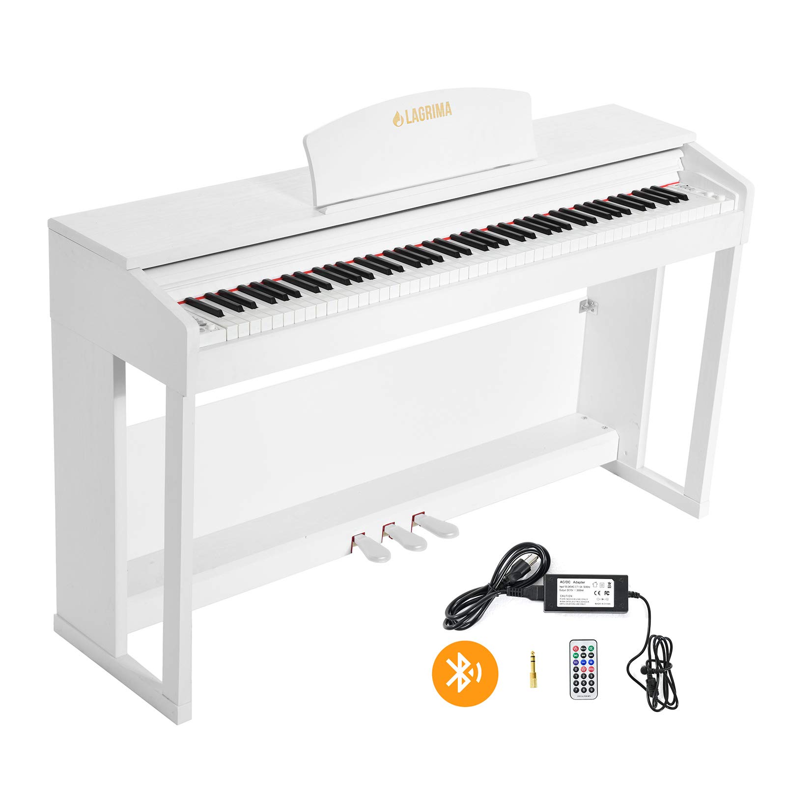 LAGRIMA LG-803 88-Key Beginner Digital Piano with Full-Size Weighted Keys | Muti-functional Piano with 3 Pedals and Bluetooth | Multi-tone Selection - White by LAGRIMA