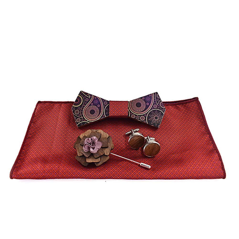 Wooden Bow Tie Handmade Adjustable Pre-tied Wood Neck Tie Gift Set S5