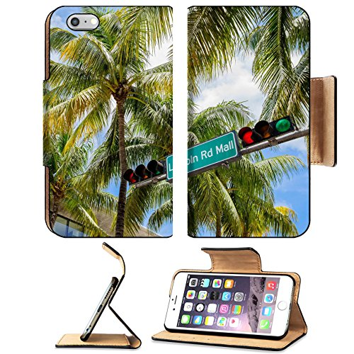 Liili Premium Apple iPhone 6 Plus iPhone 6S Plus Flip Pu Leather Wallet Case Lincoln Road Mall street sign located in Miami Beach - Shops Florida In Mall