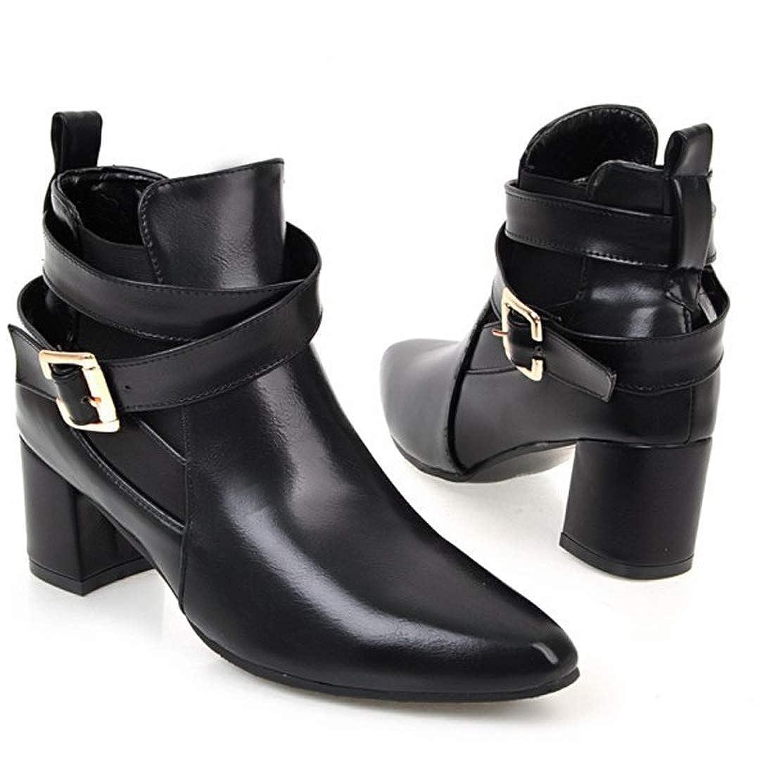 SERAPH Schuhe Damen Damen Damen Spitzschuh Schnalle Blockabsatz Martin Stiefeletten C-52 schwarz 025e8f