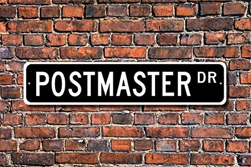 Fhdang Decor Postmaster, Postmaster Gift, Postmaster Sign, Post Office, Government Employee, Mail Supervisor, Custom Street Sign,Quality Metal Sign, 4