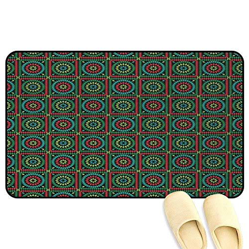 - Afghan Patio mat Colorful Rhombuses in Bullseye Circles and Checkered Squares Pattern Mosaic Motif Multicolor Hard Floor Protection W24 x L35 INCH