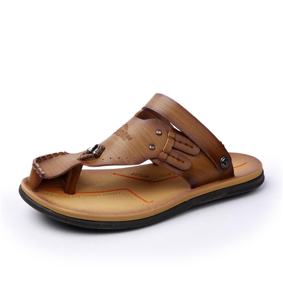 Gracosy Flip Flops, Unisex Zehentrenner Flache Hausschuhe Pantoletten Sommer Schuhe Slippers Weich Anti-Rutsch T-Strap Sandalen fuuml;r Herren Damenr  42 EU|Khaki