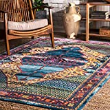 nuLOOM RZDR07A Vibrant Scrollwork Mirror Area Rug, 4' x 6', Blue