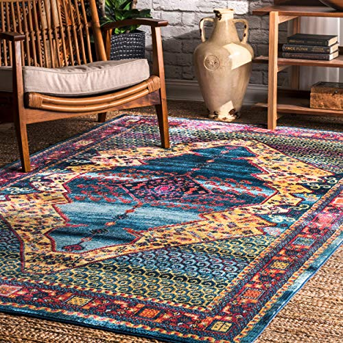 nuLOOM RZDR07A Vibrant Scrollwork Mirror Area Rug, 4' x 6', Blue by nuLOOM