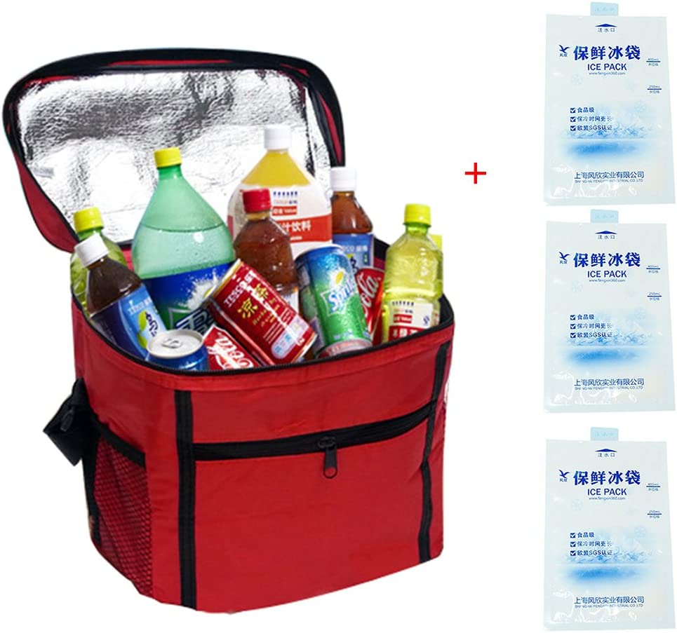 LemonGirl Outdoor Cooler Bag With 3 Ice Pack Can Insulated 10-24 Hous
