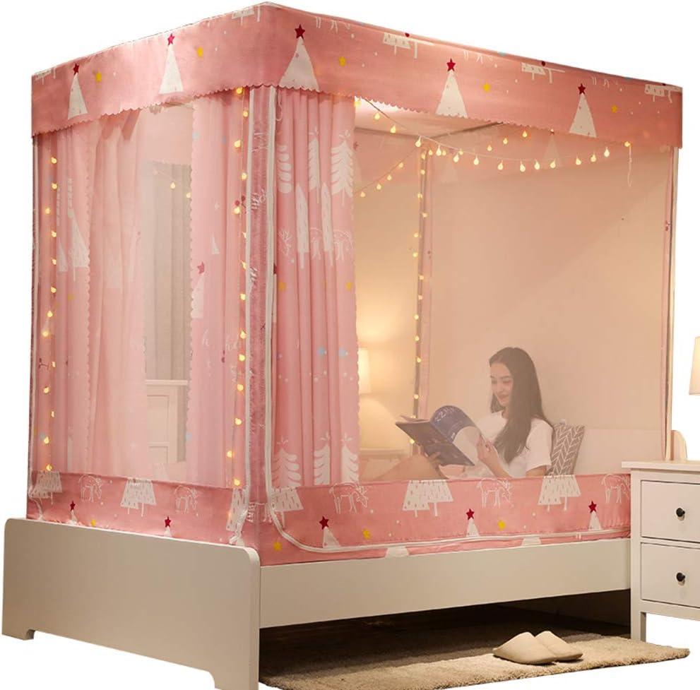 KID LOVE 4 Coins Princess Bed Curtain Canopy,canop/ée De Lit De Moustiquaire Rose Tente De Jeu Suspendue pour La Chambre denfants-a Queen2