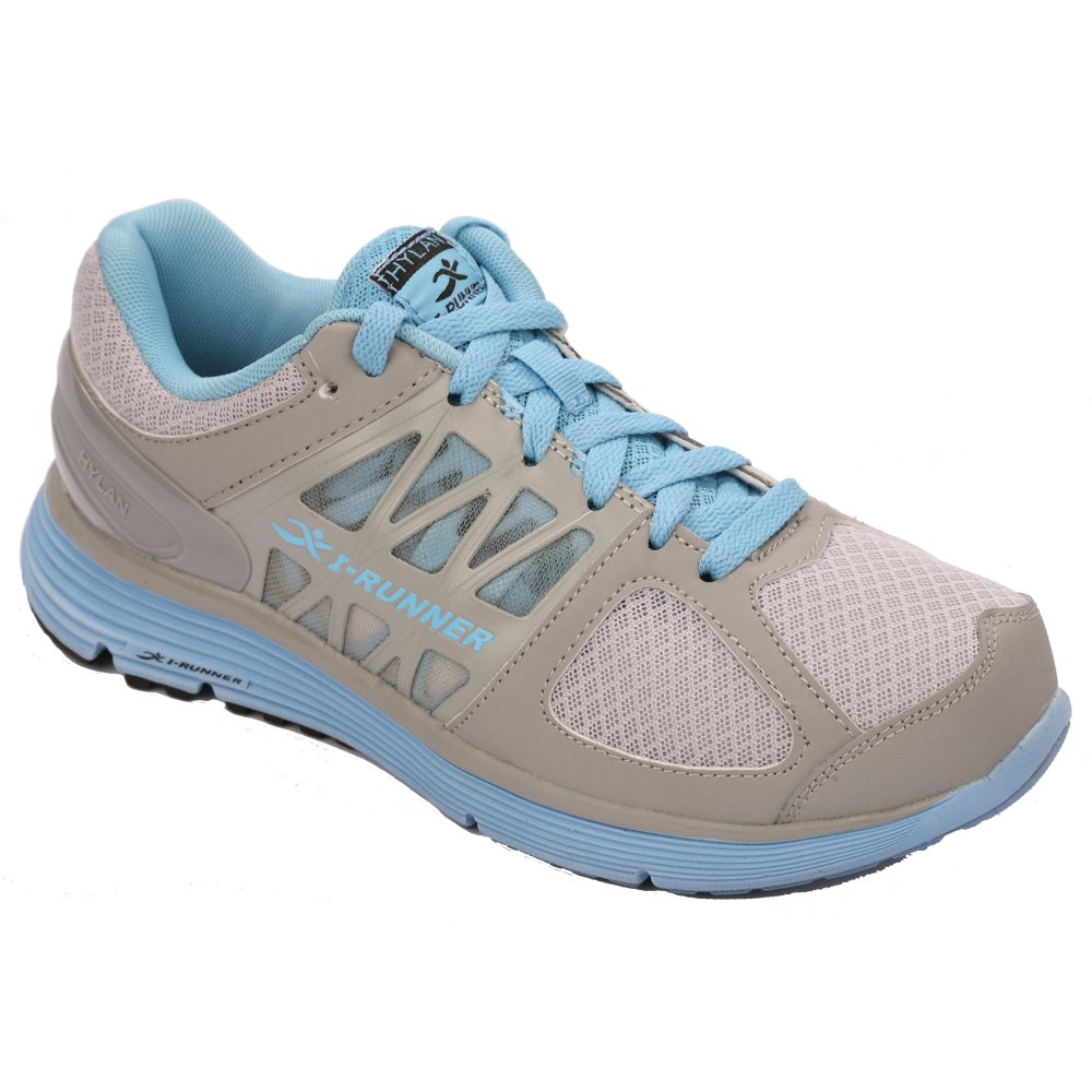 I-RUNNER Eliza Women's Therapeutic Athletic Extra Depth Shoe: Grey/Blue -8.0 Wide (D) Lace