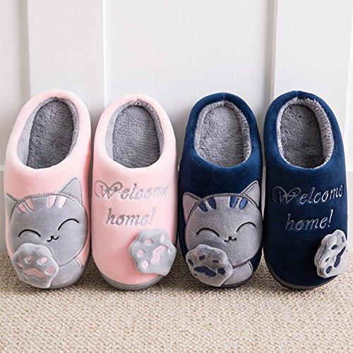 Shoes A Chaud Printemps Peluche Femmes Pink Coton Chic Chaussons Slipper House Hommes Chat Minetom xw7PqtqR