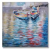 "In Liu Of | Modern Oil Painting on Canvas ""Venetian Romance"" (Gondola Row Boats) Colorful, Contemporary Art Style 
