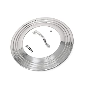 "Alpha Living 60015 7"" to 12"" High Grade Stainless Steel and Glass Universal, Fits All Pots, Replacement Frying Pan Cover and Skillet Lids, 7-12 inches"