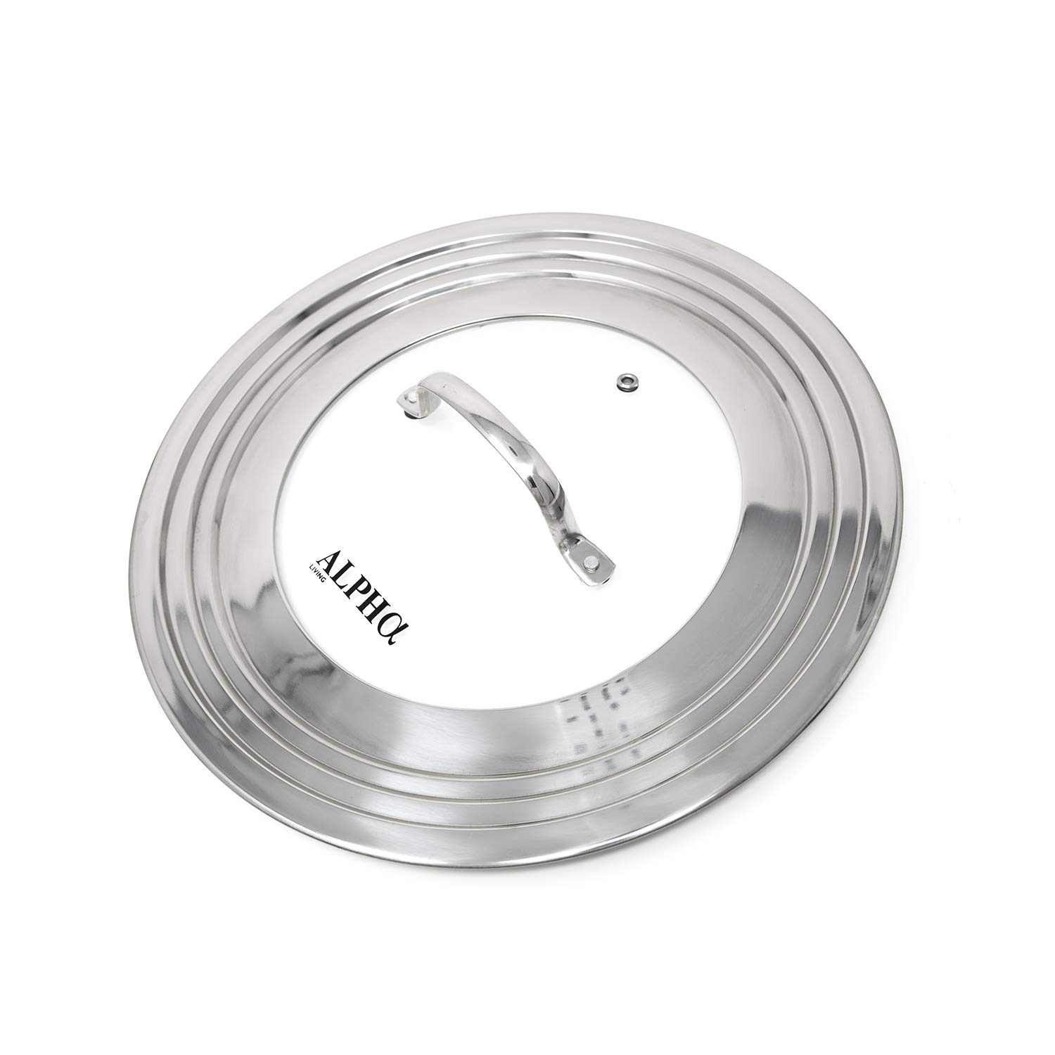 Alpha Living 60015 7'' to 12'' High Grade Stainless Steel and Glass Universal, Fits All Pots, Replacement Frying Pan Cover and Skillet Lids, 7-12 inches