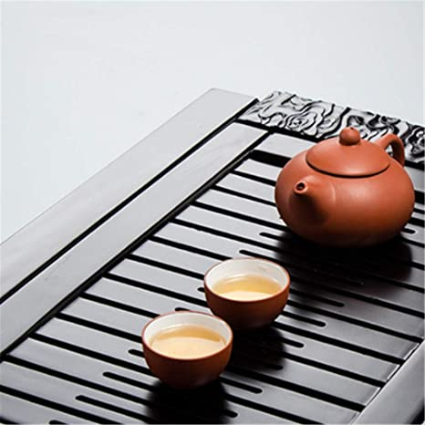 Fanuosu Chinese Gongfu Tea Serving Tray Black Chinese Style Serving TrayTraditional Carved Drainage Type Cup Plate Chinese Japanese Gongfu Tea Table Serving Tray For Tea Ceremory Party