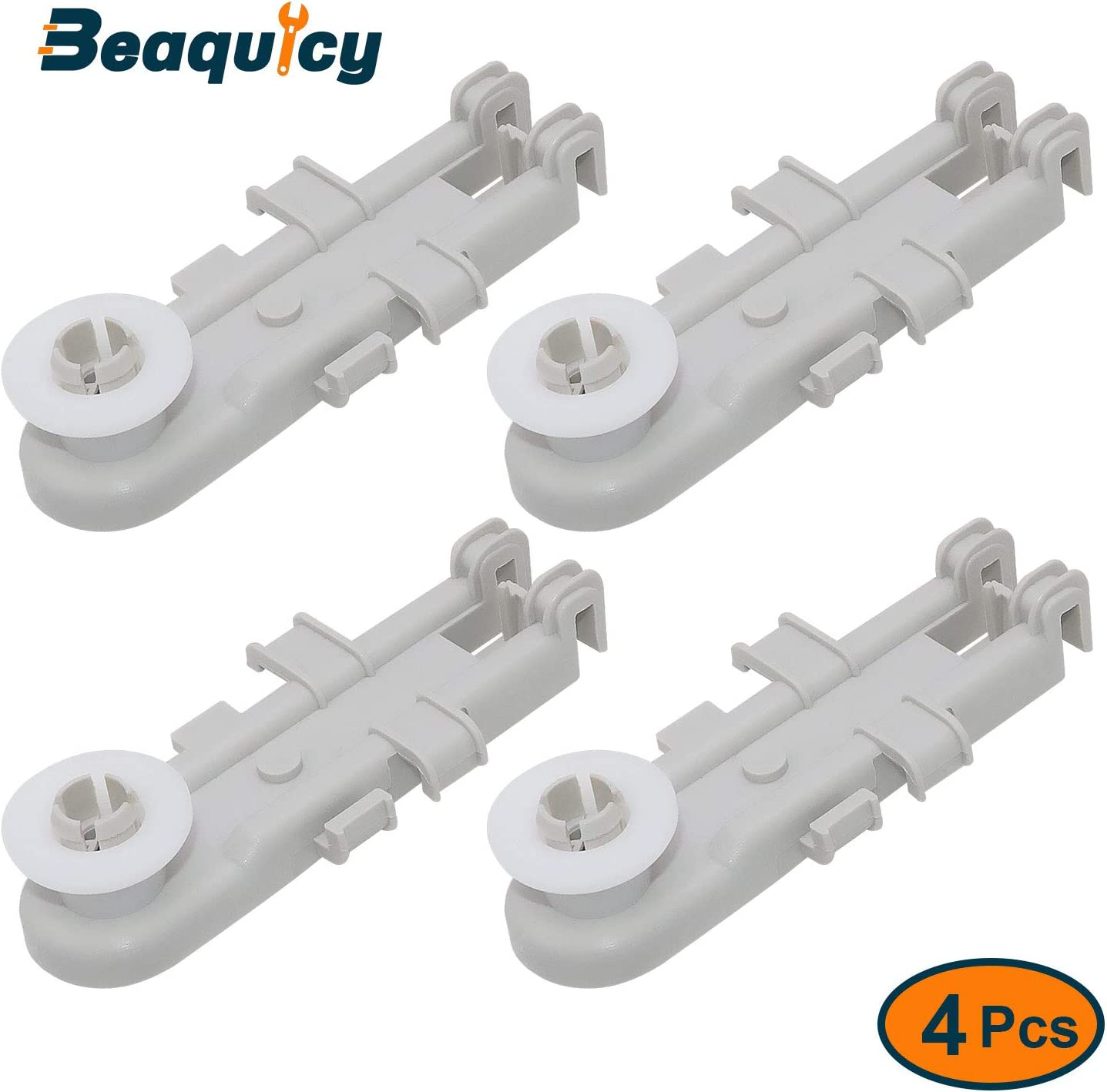 Beaquicy 8268743 Upper Rack Wheel - Replacement for Kenmore Kitchen Aid Whirlpool - Includes roller wheel, roller axle, rack mount for 4 Pack Set