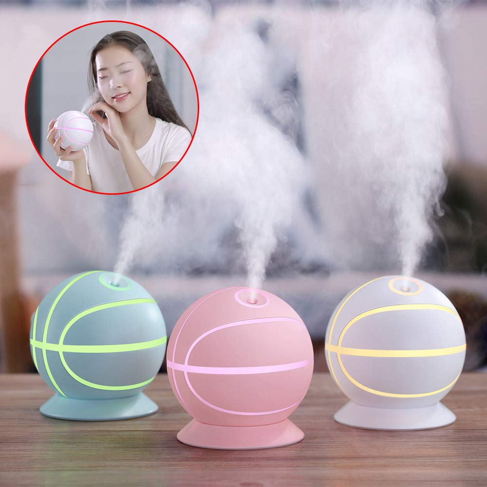 Gotian Air Purifier 240ML Large Capacity 35ML/H LED Humidifier Home Mute Mini Office Desktop Aromatherapy Basketball Handy Switch with USB Cable (White)