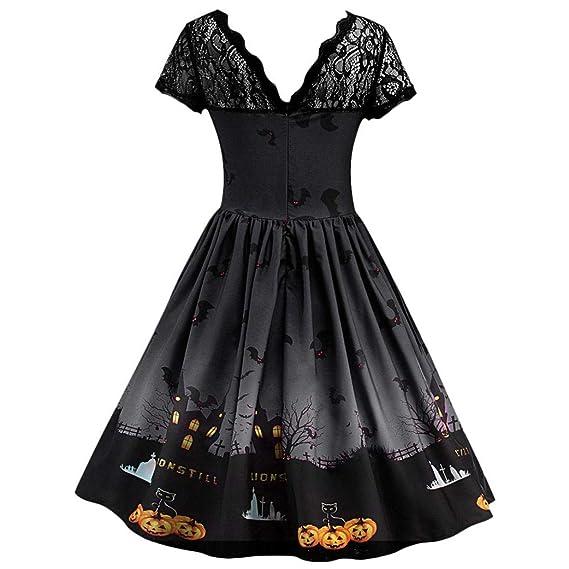 Vestido de Halloween con Encaje Estampado Negro, Covermason Vestido de Noche de Encaje Retro de Halloween de Manga Corta para Mujer Vestido de oscilación de ...