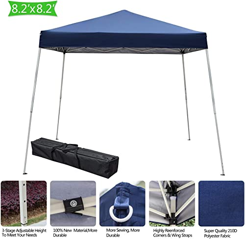 Teekland 8X8ft Pop Up Canopy Tent, Portable Instant Folding Gazebo Home Outdoor Party Tent Shade Sun Shelter with Carry Bag