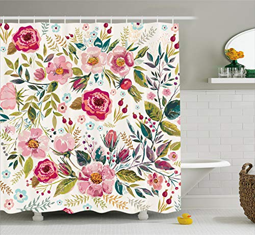 Ambesonne Floral Shower Curtain by, Shabby Chic Flowers Roses Pedals Dots Leaves Buds Spring Season Theme Image Artwork, Fabric Bathroom Decor Set with Hooks, 84 Inches Extra Long, Multicolor (Decorations Barn Pottery)