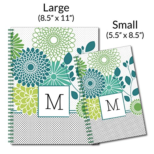 Floral Traditionalist Personalized Flower Monogram Spiral Notebook/Journal, 120 College Ruled or Checklist Pages, durable laminated cover, and wire-o spiral. 8.5x11 | 5.5x8.5 | Made in the USA Photo #4