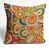 Mukesh Handicrafts Boho Pattern Jute Fabric Cushion Cover Size-(24X24 Inches)