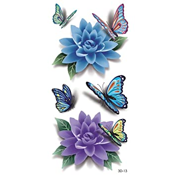 YANGQIN Etiqueta engomada del tatuaje 3D Colorido Mariposa ...