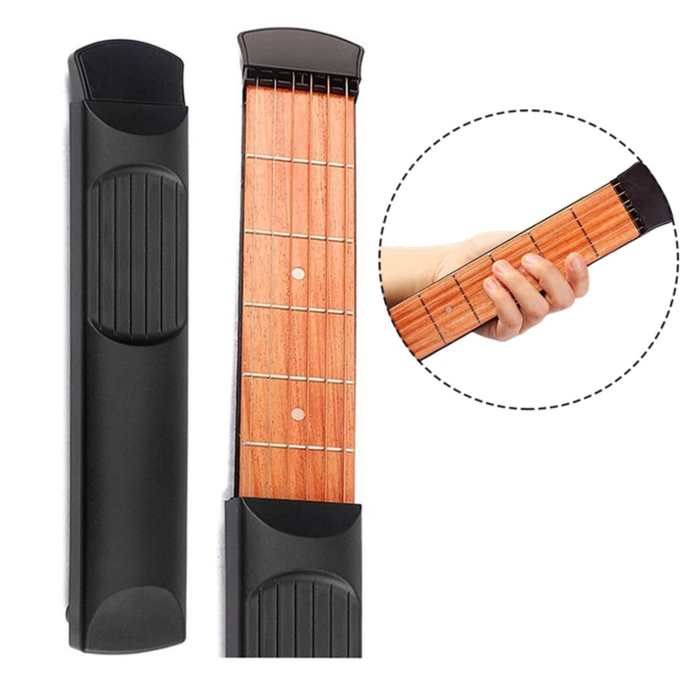 Pocket Guitar 6 Fret Finger Exercise Scales Chords Practice Tool Black 6 strings- No Sound GOBEAUTY